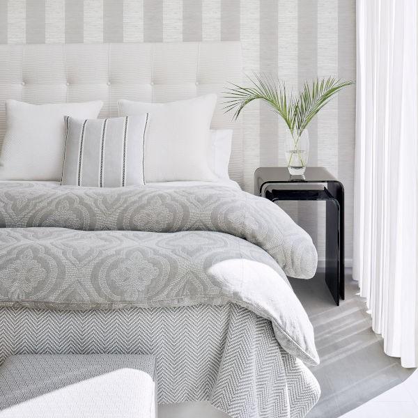 Crossroad Striped Grasscloth Wallpaper Thibaut
